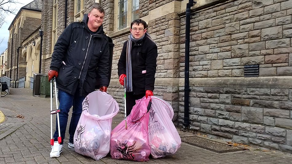 Two Canton residents after community litter picking event.