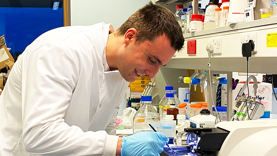 A researcher in the lab at Cardiff University