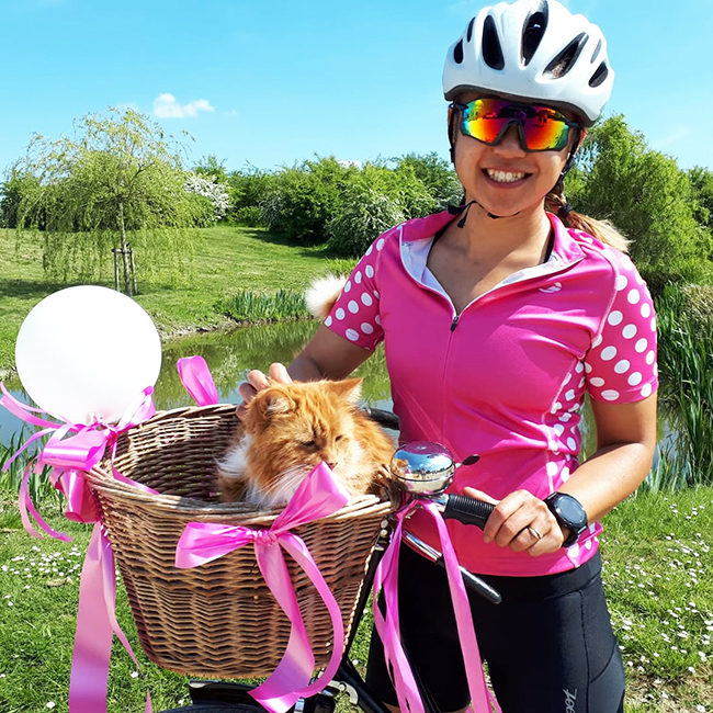 Marianne Aitken and Maxi after their bike ride for Cats Protection