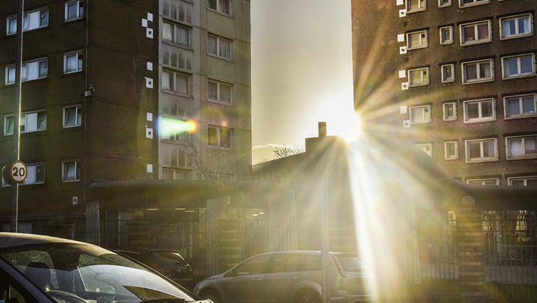 buildings and sunlight in a photograph
