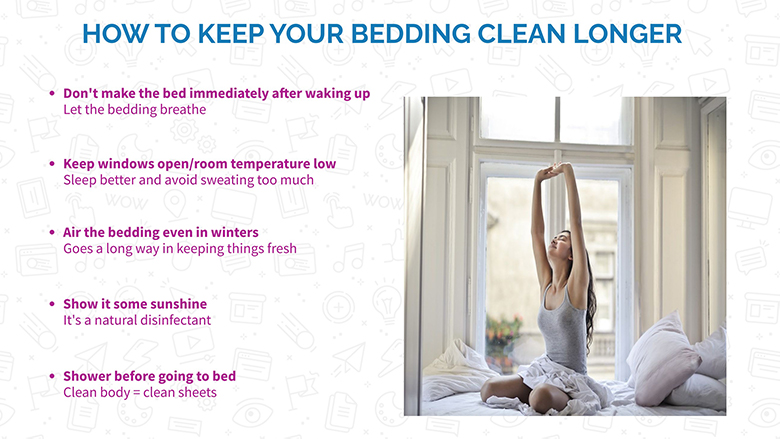 infographic, woman waking up on bed, text