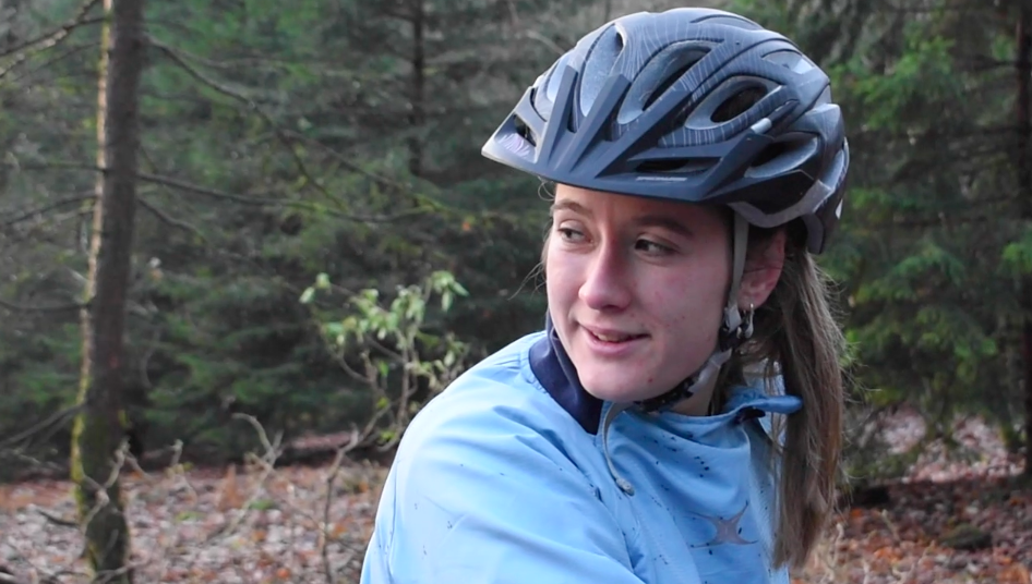 Laura in action, doing one of her favourite sports, mountain biking