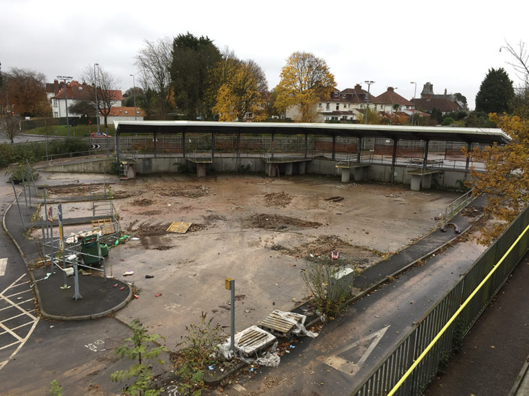 The disused recycling centre as seen from Waungron Park station
