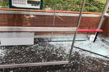 Damage at maelfa bus shelter