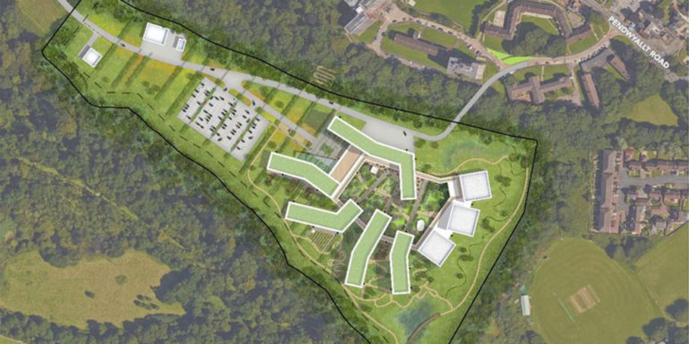 Proposed new Velindre Cancer Centre buildings, as shown from above